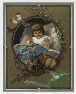 prang_cards_kids-00010 - 0142-Prize Christmas cards depicting mother with children, snow, flowers, butterflies, and musical instruments 101778