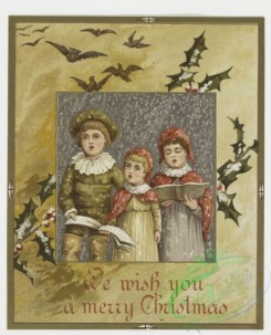 prang_cards_kids-00013 - 0172-Christmas and Easter cards depicting nests, plants, bells, children, carollers and holly 103359