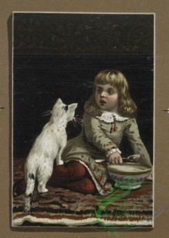 prang_cards_kids-00026 - 0243-Christmas and New Year cards depicting young girl feeding cat and dog, birds with birdhouse and flowers 104270