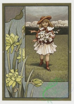 prang_cards_kids-00039 - 0283-Easter and Valentine cards depicting flowers, girls, a bird and a dragonfly 104590