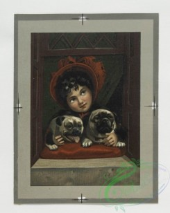 prang_cards_kids-00042 - 0331-Christmas and New Year cards depicting children with dogs, in windows, owls on snow-covered trees 105118