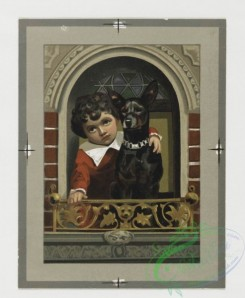prang_cards_kids-00045 - 0331-Christmas and New Year cards depicting children with dogs, in windows, owls on snow-covered trees 105121
