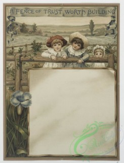 prang_cards_kids-00081 - 0569-Cards with text describing positive attributes and depicting bees, clover, children, flowers, fences and fields 106664