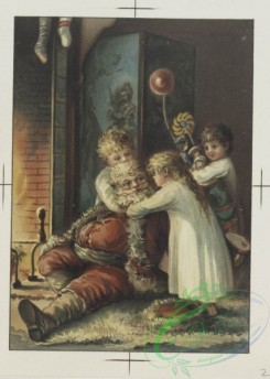 prang_cards_kids-00093 - 0659-Christmas, Valentine, and Birthday cards depicting children by fireplace with Santa Claus, flowers 107162