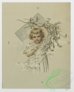 prang_cards_kids-00103 - 0715-Christmas cards depicting young girls with holly and mistletoe 107459