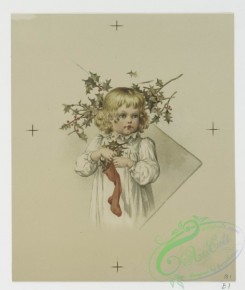 prang_cards_kids-00104 - 0715-Christmas cards depicting young girls with holly and mistletoe 107460