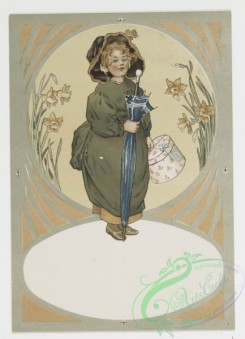 prang_cards_kids-00115 - 0777-Birthday, Christmas, and Valentine cards depicting characters from nursery rhymes-girl with umbrella, girl cutting flowers, girl blowing horn 107650