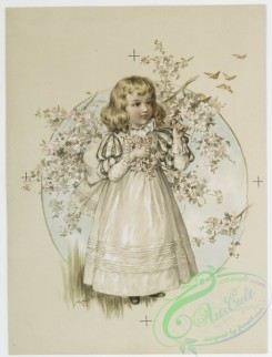 prang_cards_kids-00127 - 0810-Flora, Rosa (Valentines and Christmas cards depicting young girls surrounded by flowery bushes,) 107795