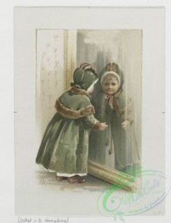 prang_cards_kids-00129 - 0816-Calendar, Christmas card and poster with the words 'Prang's art studies for oil and water color', depicting a girl looking in a mirror, a string of tw 107811