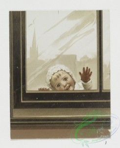 prang_cards_kids-00134 - 0827-Birthday, Christmas, Easter and Valentine cards depicting a child peering through a door and window, flowers, butterflies, river landscapes 107854