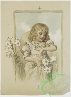 prang_cards_kids-00139 - 0867-Easter cards entitled 'Goldie' and 'Birdie,' depicting a girl with lilies, butterflies and chicks 108073
