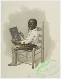 prang_cards_kids-00147 - 0943-Artist, Gourmand (portraits of young boys, with watermelon, and chalkboard drawing,) 108336