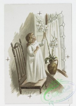 prang_cards_kids-00151 - 0963-Easter cards depicting girl decorating her home with flowers, woman on rocking chair, flowers 108402