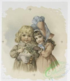 prang_cards_kids-00152 - 0993-Christmas cards depicting girls with holly and mistletoe 108563