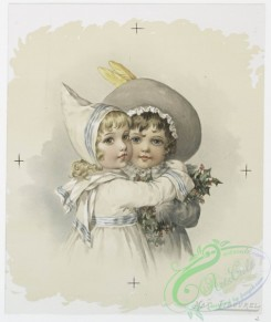 prang_cards_kids-00153 - 0993-Christmas cards depicting girls with holly and mistletoe 108564