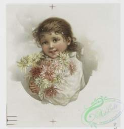 prang_cards_kids-00155 - 0999-Christmas cards depicting girls with flowers, a potted plant and a letter, a jack-o'-lantern, horns, turtles, dogs, a brick fence, cats in human situa 108578