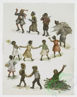 prang_cards_kids-00165 - 1059-Calendar depicting children playing and umbrella, rain, flowers, holly, snow, and a watermelon 100226