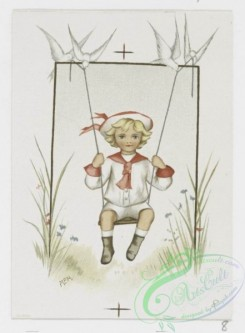 prang_cards_kids-00183 - 1172-Valentines, Christmas cards and calendars for 1894 depicting children, hearts, lockets, swings, flowers, bells, birds, hats, landscapes, trees, houses 100631