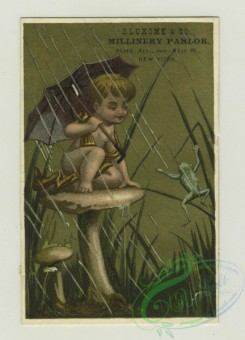 prang_cards_kids-00202 - 1382-Trade cards depicting a boy-sitting on a mushroom under an umbrella watching a frog, reading to sitting doves in a tree, painting grasshoppers red 101504