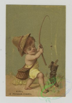 prang_cards_kids-00207 - 1472-Trade cards using months as themes depicting children-collecting flowers, catching a boot with a fishing pole, with a mask, holding a paper and ba 101970