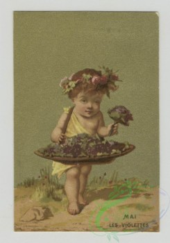 prang_cards_kids-00208 - 1472-Trade cards using months as themes depicting children-collecting flowers, catching a boot with a fishing pole, with a mask, holding a paper and ba 101971