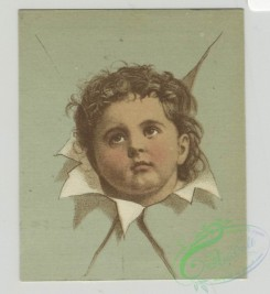 prang_cards_kids-00210 - 1501-Trade cards depicting children's heads framed by torn paper and cards shaped like a paint palettes depicting boys-fishing, catching butterflies an 102105