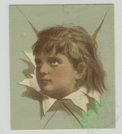 prang_cards_kids-00211 - 1501-Trade cards depicting children's heads framed by torn paper and cards shaped like a paint palettes depicting boys-fishing, catching butterflies an 102106