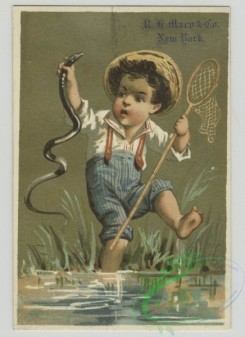 prang_cards_kids-00213 - 1526-Trade cards depicting boys-pouring liquor into a bottle, finding a snake in a river, harvesting crops and painting a sculpture 102220
