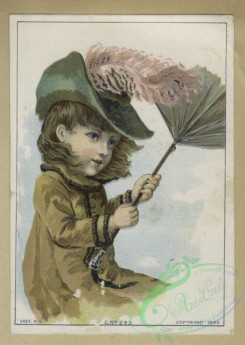 prang_cards_kids-00216 - 1612-Trade cards depicting children, an umbrella, a windy day, a decorated plate, ducks, a butcher, a girl in a hammock and a sailor boy 102597