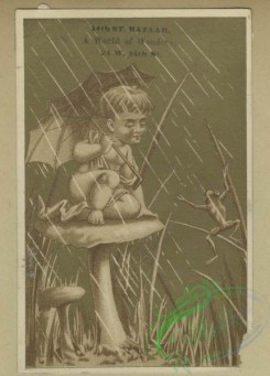 prang_cards_kids-00231 - 1675-Trade cards depicting fans, painting palettes, sailboats, flowers, chickens, thread, rain, glass ball, umbrella, cats riding bicycles and dogs rocking 102993