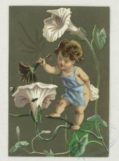 prang_cards_kids-00246 - 1774-Trade cards depicting miniature woodland people, bees, birds, insects, a rabbit, flowers, trees, snow and a net 103604
