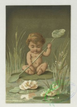 prang_cards_kids-00248 - 1777-Trade cards depicting flowers, strawberries, a turtle, a stork, thread, lily pads, a boy picking cotton and a girl sewing 103621