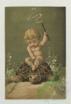 prang_cards_kids-00249 - 1777-Trade cards depicting flowers, strawberries, a turtle, a stork, thread, lily pads, a boy picking cotton and a girl sewing 103622