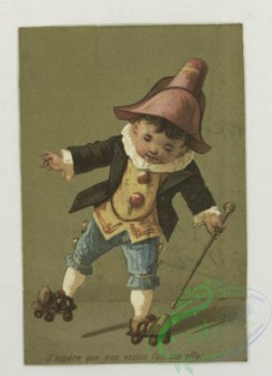 prang_cards_kids-00252 - 1791-Trade cards depicting a sailboat and miniature children-roller skating, riding a paper horse, being captured by an insect, rocketing of a champagn 103714