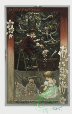 prang_cards_kids-00313 - 0425-Christmas cards depicting elves, snowflakes, stars, flowers, holly, a Christmas tree, children and women 105727