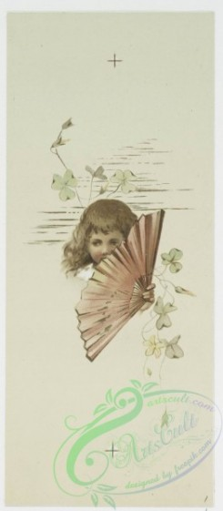 prang_cards_kids-00321 - 0519-Birthday, Christmas and Valentine cards depicting young girls with fans, flowers and berries 106387