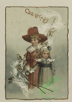 prang_cards_kids-00336 - 0600-Easter and Christmas cards depicting woman decorated with flowers, children with holly, plants and flowers 106899