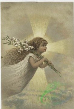 prang_cards_kids-00341 - 0642-An Easter card depicting a girl floating, lilies and a cross of light 107083