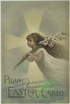 prang_cards_kids-00342 - 0644-(A print with the words 'Prang's Easter cards' and depicting a girl floating, lilies and a cross of light,) 107088
