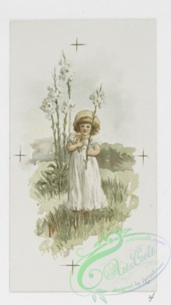 prang_cards_kids-00355 - 0960-Easter cards depicting young girls with flowers in grassy fields, girl reclining on sofa 108392