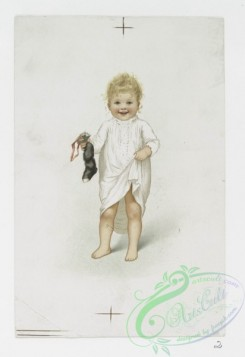 prang_cards_kids-00357 - 1082-Christmas cards depicting children holding a cat, Christmas stockings and a rooster toy 100319