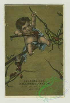 prang_cards_kids-00367 - 1382-Trade cards depicting a boy-sitting on a mushroom under an umbrella watching a frog, reading to sitting doves in a tree, painting grasshoppers red 101506