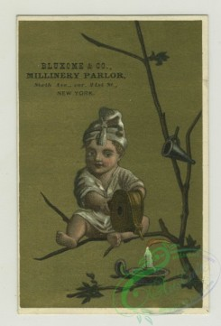 prang_cards_kids-00368 - 1382-Trade cards depicting a boy-sitting on a mushroom under an umbrella watching a frog, reading to sitting doves in a tree, painting grasshoppers red 101507