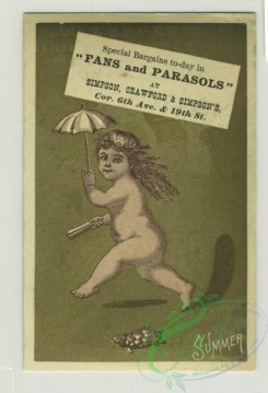 prang_cards_kids-00373 - 1387-Trade cards depicting nests, birds, Easter eggs, rabbits, fruit, flowers, hot buns, nude children running with-umbrellas, boots, chicks, turtle, r 101527