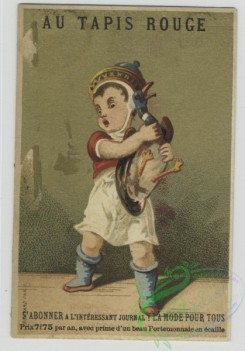 prang_cards_kids-00379 - 1433-Trade cards depicting men-holding a duck, playing with puppets, with a parasol and cane, playing a brass instrument, on a horse replica and holdin 101798