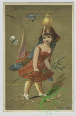 prang_cards_kids-00387 - 1455-Trade cards depicting men and women wearing bird costumes, butterflies, stars and flute playing 101906