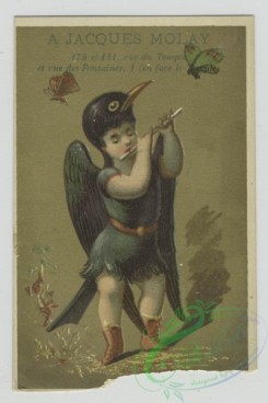 prang_cards_kids-00390 - 1455-Trade cards depicting men and women wearing bird costumes, butterflies, stars and flute playing 101909