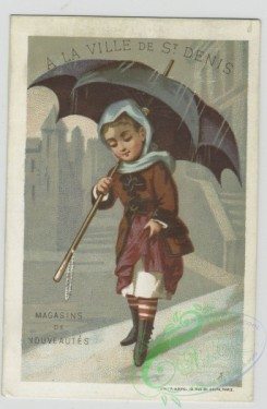 prang_cards_kids-00392 - 1458-Cards depicting women outside using parasols, fans and in the rain using an umbrella 101919