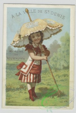 prang_cards_kids-00394 - 1458-Cards depicting women outside using parasols, fans and in the rain using an umbrella 101921