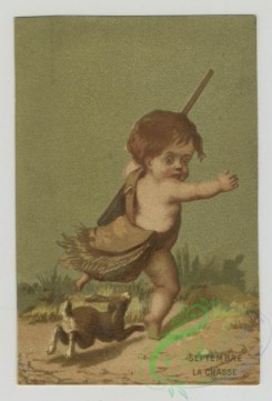 prang_cards_kids-00398 - 1473-Trade cards using months as themes depicting children-wading in the ocean, carrying books, holding a rifle and being chased away by a rabbit, with 101975